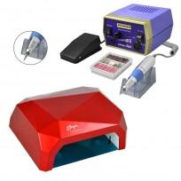 Combo Torno Drill 288 Professional para Manos y Pies + Cabina LED UV 40W